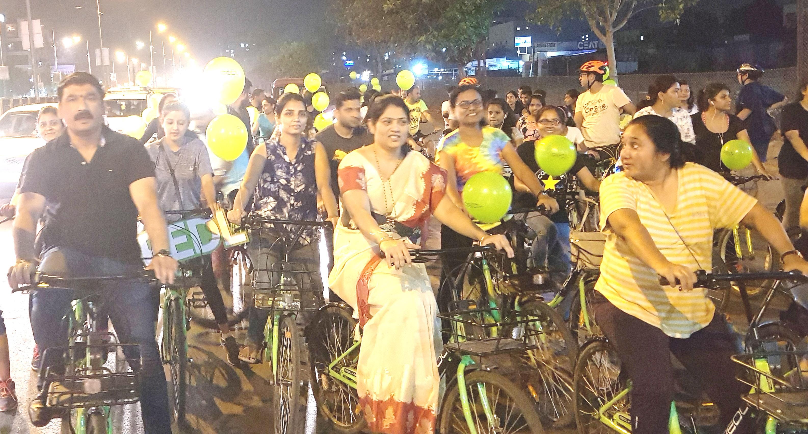 पिंपळे सौदागरमध्ये भयमुक्त वातावरणासाठी महिला सायकल रॅली; २५० महिलांचा सहभाग