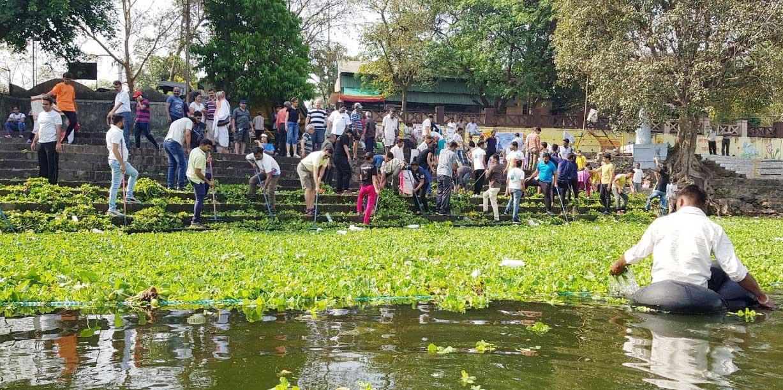जलपर्णीमुक्त पवनामाई अभियानात 200 व्यावसायिकांचा सहकुटुंब सहभाग